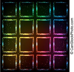 Rainbow neon squares abstract vector background