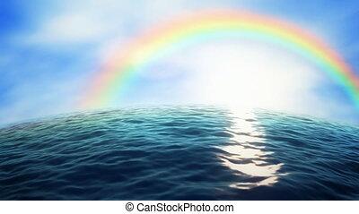 Rainbow ocean - Rainbow over the ocean (seamless loop)