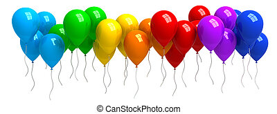 Rainbow of colorful balloons isolated on white