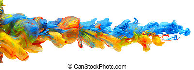 Rainbow of colorful paints and inks swirling together in flowing water abstract background