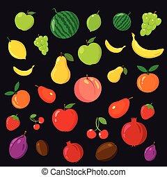 Rainbow of fruits on the black background