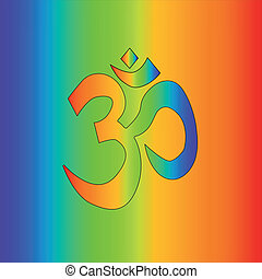 Rainbow Om - The symbol for 'OM' as a rainbow as used by...