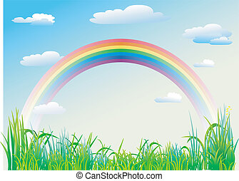 Rainbow on a background of blue sky