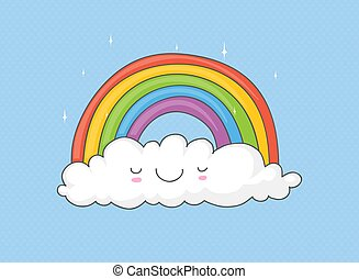 rainbow on a cloud