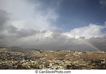 Rainbow on a view of old city of Jerusalem