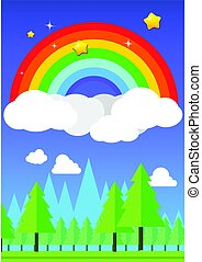 Rainbow on sky and forest background vector illustration