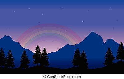 Rainbow on the mountain beauty landscape silhouettes