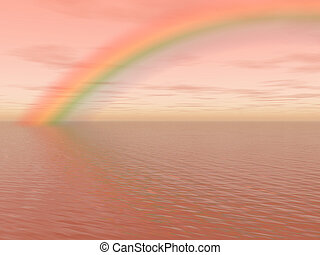 Rainbow on the sea - Pastel landscape with ocean, sky and...
