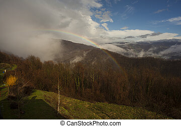 Rainbow on the Slovenian mountains