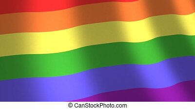 Rainbow or gay flag moving wind