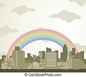 Rainbow over a city
