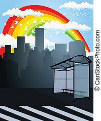 Rainbow over a city2