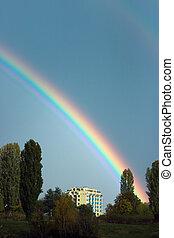 Rainbow over block of flats