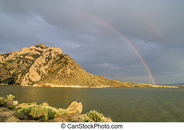 Rainbow over Buffalo Bill Reservoir