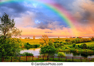Rainbow over countryside - Scenic view of Cental Kentucky ...