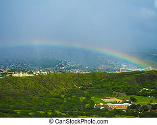 Rainbow over Diamond Head Crater in Waikiki Honolulu Hawaii