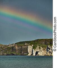 Rainbow over Dunluce Castle, Northern Ireland