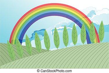 Rainbow over farmland - Colorful rainbow over countryside ...