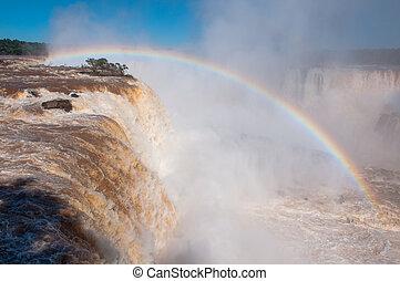 Rainbow over gorgeous waterfalls of Iguazu, Brazil.