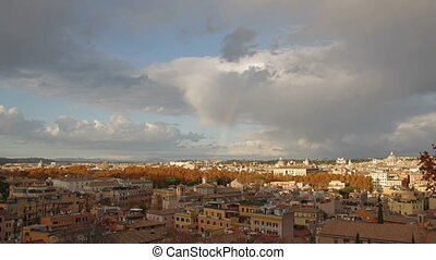 Rainbow over Rome - city overview with a rainbow,Rome, Italy