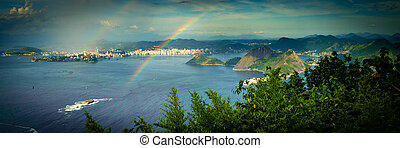 Rainbow over sea - Rainbow over the Guanabara Bay, Brazil