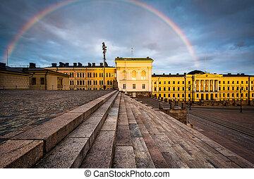 Rainbow over Senaatintori, Senate Square at sunset, in Helsinki, Finland.