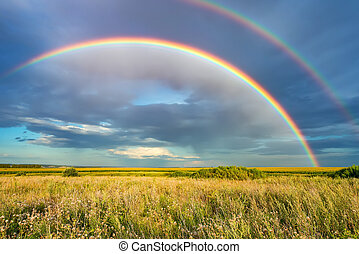 Rainbow over stormy sky in countryside at summer day