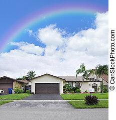 Rainbow over Suburban Home