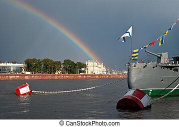 Rainbow over the city.