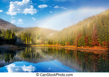 rainbow over the lake in foggy spruce forest
