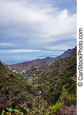 Rainbow over the mountains of La Gomera