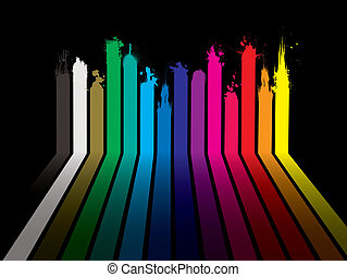 Bright rainbow paint dribble background with stripes and shadow