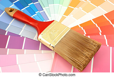 paint swatches - rainbow paint swatches, and paint brush for...