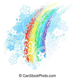 rainbow painted with colored chalk on a white background.