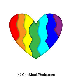 Rainbow paper cut heart colors LGBT or GLBT pride flag isolated on white background, symbol of lesbian gay bisexual transgender and queer questioning LGBTQ. 3d Illustration icon, clip art