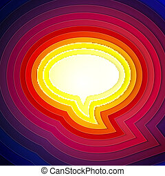 Rainbow paper layers chat bubble symbol