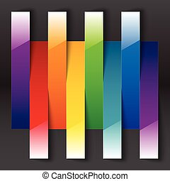 Rainbow paper stripe shiny banners with shadows on dark grey background