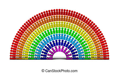 Rainbow people 6 - rainbow made of many (over a hundred)...