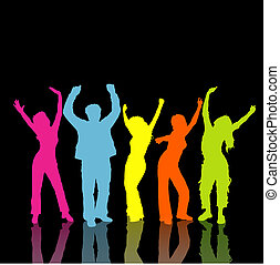Rainbow people - Colourful silhouettes of people dancing