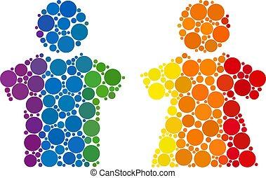 Rainbow People couple Mosaic Icon of Spheric Dots
