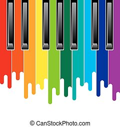 Rainbow piano keyboard - Rainbow paint flows piano keyboard