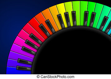 Piano keys - Rainbow Piano keys. Illustration on black...