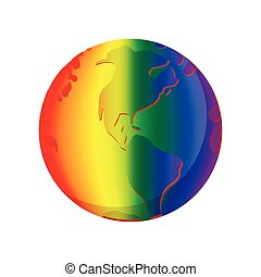 Rainbow planet cartoon icon