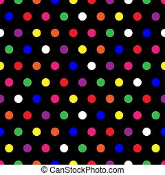 Illustration of small rainbow colored polka dots on black background