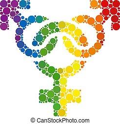 Rainbow Polyandry symbol Mosaic Icon of Spheric Dots