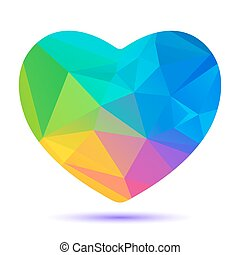 rainbow polygonal bright heart - Polygonal stylized bright...