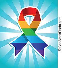 Colorful rainbow ribbon for pride awareness.