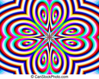 Rainbow psychedelic flower - Digital computer graphic