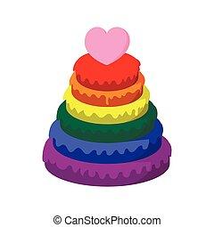 Rainbow pyramid with heart cartoon icon