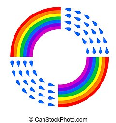 rainbow raindrop logo on a white isolated background. Vector image